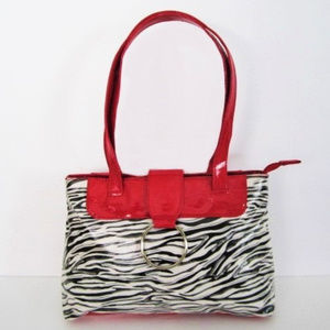Zebra Print Handbag Red Accents Pleather by Cato